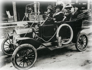 Madam C. J. Walker driver her friends in her automobile.